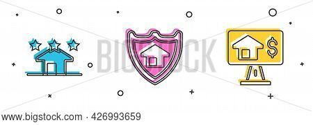 Set Real Estate, House With Shield And Online Real Icon. Vector