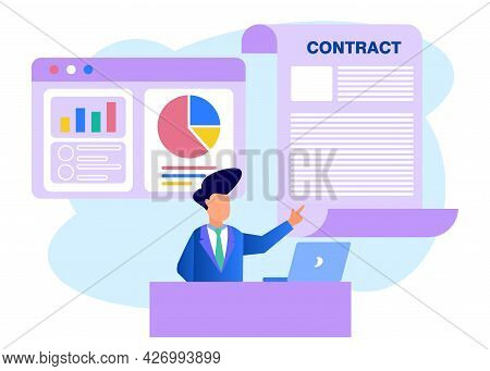 Vector Illustration Of Business Concepts, A Businessperson Studies Infographics, Analyzes Of Evoluti