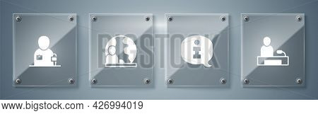 Set Television Report, Information, World News And Journalist. Square Glass Panels. Vector