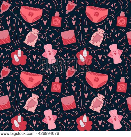 The Pattern Of Menstruation. Background Hygiene Products For Girls Textiles Menstruation. Cartoon Pa