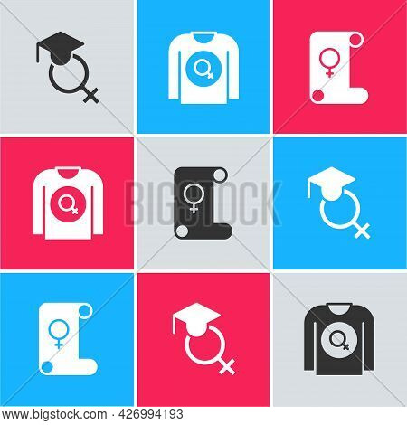 Set Teacher, Feminist Shirt And Feminism Icon. Vector