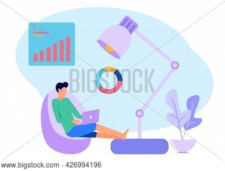 The Business Man Worked At Home And Leaned Back On The Sofa. Comfortable Workspace Interior. Freelan
