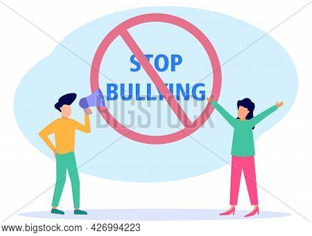 Vector Illustration Of Social Concepts, Social Problems Of Mankind. Stop Mocking Signs, Calls To Sto