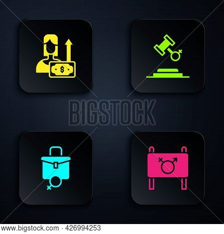 Set Feminist Activist, Money Growth Woman, Work For Female And Female Rights. Black Square Button. V