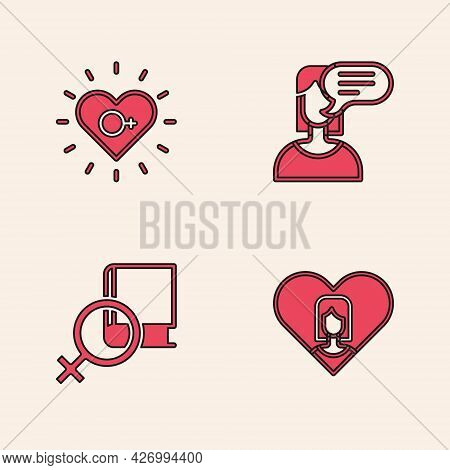 Set Heart With Female, Feminism, Female Opinion And Book About Women Icon. Vector