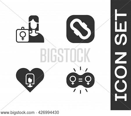 Set Gender Equality, Feminist Activist, Heart With Female And Sanitary Napkin Icon. Vector
