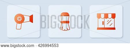 Set Shaving Brush, Hair Dryer And Barbershop Building. White Square Button. Vector