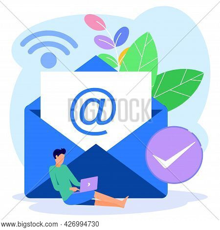 Flat Style Vector Illustration, Envelope Containing Letter Inside Smartphone, Receiving Mail, Sortin