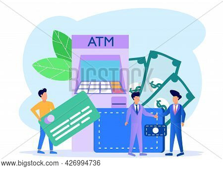 Modern Concept Vector Illustration. Young Men And Women Make Money Withdrawals At Atms, Manage Inves