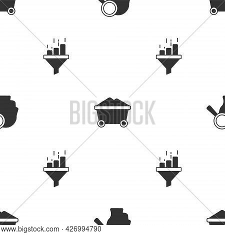 Set Search People, Coal Mine Trolley And Sales Funnel With Chart On Seamless Pattern. Vector