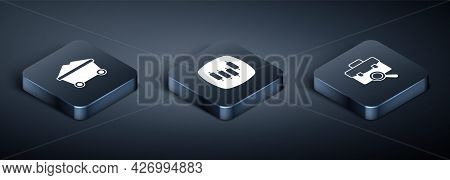 Set Isometric Coal Mine Trolley, Work Search And Browser With Stocks Market Icon. Vector