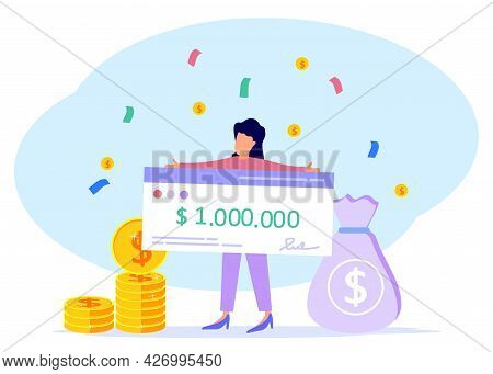 Vector Illustration In Flat Design. Happy Lucky Lady Holding A Million Dollar Bank Check. Winner Of