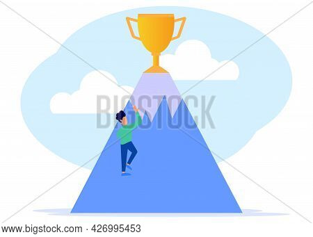 Flat Style Vector Illustration. A Young Businessman Climbing To The Top Of The Mountain Is A Golden