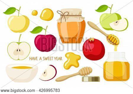 Happy Rosh Hashanah Set. Apple Fruit, Honey, Pomegranate. Jewish New Year Holiday. Shana Tova Vector