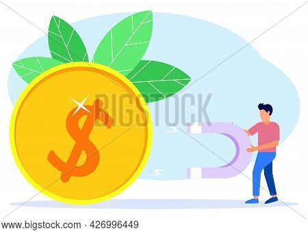 Vector Illustration Of A Business Concept. Successful Business People Hold Large Magnets And Attract