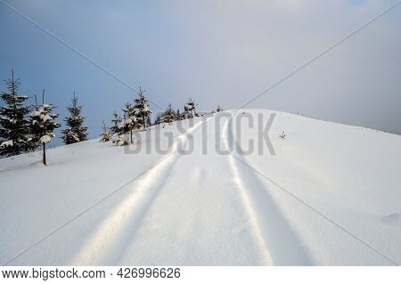 Moody Landscape With Footpath Tracks And Dark Trees Covered With Fresh Fallen Snow In Winter Mountai