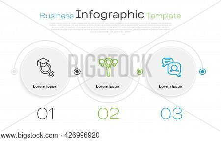 Set Line Teacher, Female Reproductive System And Gender Equality. Business Infographic Template. Vec