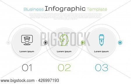 Set Line Barbershop, Baldness And Electric Razor Blade. Business Infographic Template. Vector