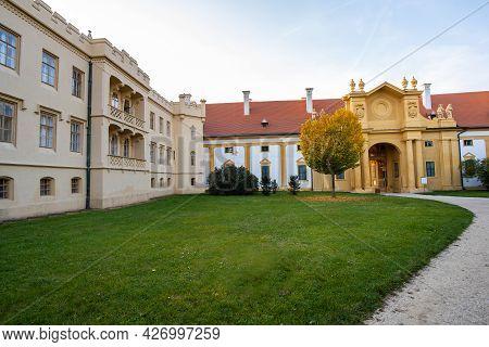Green Gardens In Lednice Castle Chateau Yard In Moravia, Czech Republic. Unesco World Heritage Site.