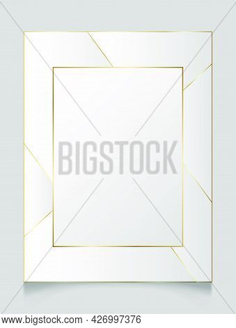 Golden Shiny Glowing Blank Art Deco Frame Over White Background. Gold Metal Luxury Vector Rectangle