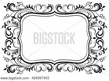 Elegant Floral Ornamental Blank Frame In Black Isolated Over White. Victorian Baroque Border Vector