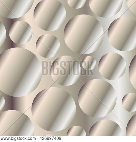 Muted Bronze Diagonal Gradient Circles Seamless Pattern. Abstract Modern Vector Background. Shiny Me
