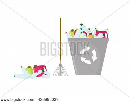 Colored Illustration Of Plastic Waste, Rake And Trash Can For Recycling. Great Design Elements Of Co