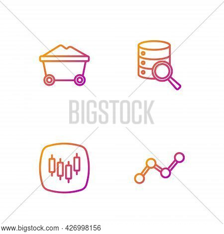 Set Line Graph Chart Infographic, Browser With Stocks Market, Coal Mine Trolley And Server. Gradient