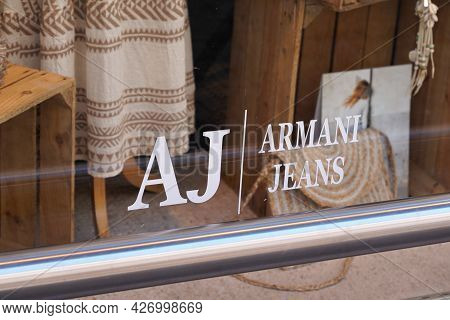 Toulouse , Occitanie France  - 06 25 2021 : Armani Jeans Shop Sign Brand And Text Logo Of Store Clot