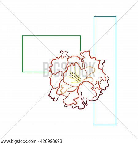 Red Carnation Flower And Frame. Abstract Full Color Composition With Clove. Hand-drawn Vector. Summe