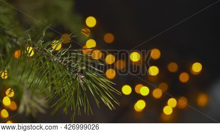 Branches Of A Christmas Tree In The Foreground. Glowing Yellow Lights From Bulbs And Garlands On A B