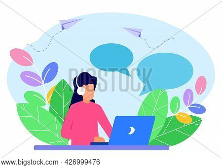 Flat Style Vector Illustration, Customer Service, Hotline Operator Guiding Customers, 24/7 Online Gl