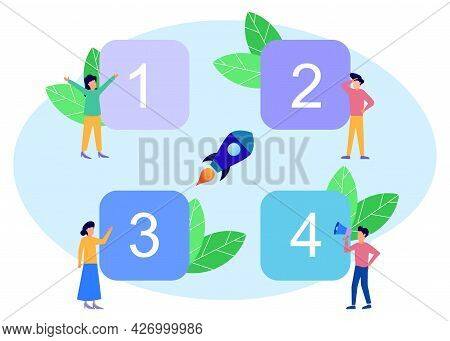 Flat Style Vector Graphics, Square Number Option Infographics, Can Be Used For Workflow Layouts, Dia