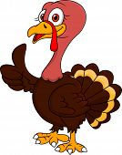 Vector illustration of turkey cartoon with thumb up poster