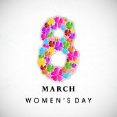 Happy Women's Day background with floral decorated text 8 March. poster