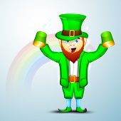 Saint Patrick's Day concept with happy leprechaun holding beer mug on rainbow background. poster
