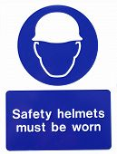 construction site hard hat sign isolated on white poster