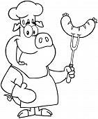Outlined Pig Chef Cartoon Mascot Character With Sausage On Fork poster
