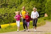 Happy Family with two girls running or jogging for sport and better fitness in a meadow in summer poster