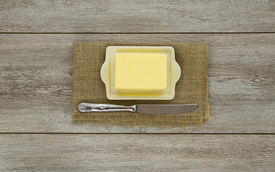 Butter On Dish With Knife