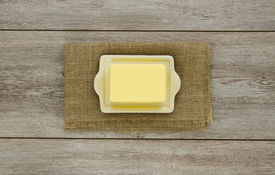 Butter On Dish With Burlap