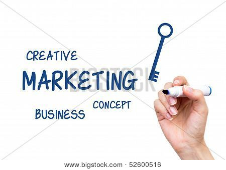 Hand Writing Marketing Content With Blue Marker On Virtual Board