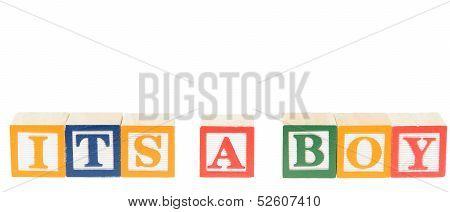 Letter Blocks Spelling Its A Boy