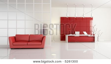 Red And White Contemporary Office