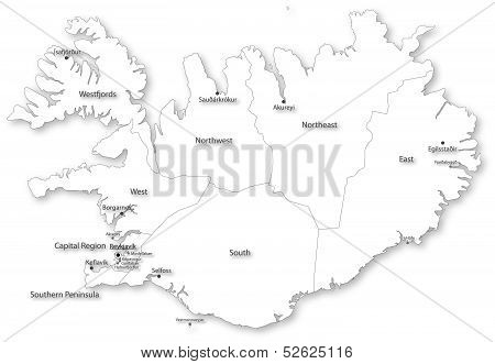 Vector map of Iceland with regions and cities on white. All elements are separated in editable layers clearly labeled. Projected in WGS 84 World Mercator (EPSG:3395) coordinate system. poster