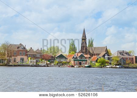 rural dutch scenery of Zaandijk waterfront, Netherland poster