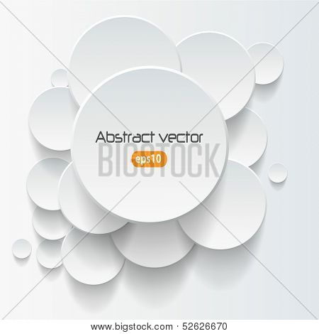 Vector abstract background, 3D overlapping circles, vector design.