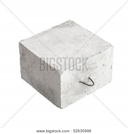 Big Concrete Construction Block With Metal Lug Isolated On White Background