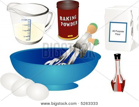 Retro Baking Utensils And Ingredients