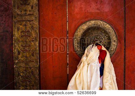 Old door at Buddhist monastery temple. India